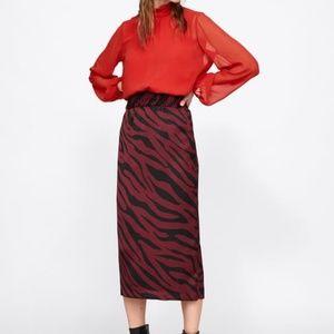 Zara Animal Print Midi Skirt Maroon Black